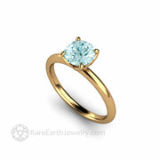 18K Yellow Gold Four Prong Solitaire Thin Band Rare Earth Jewelry