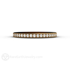 18K Yellow Gold Diamond Wedding Band Round Cut