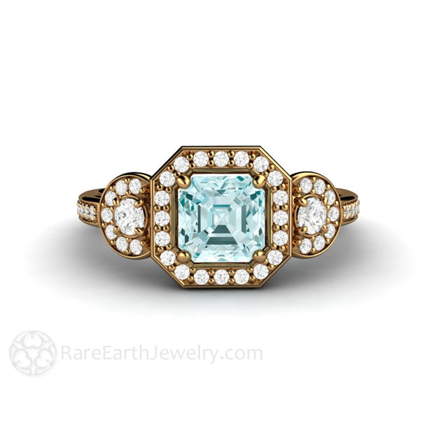 Rare Earth Jewelry Asscher Aquamarine 3 Stone Ring 18K Gold