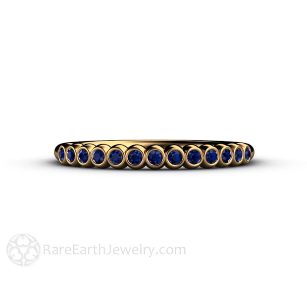 18K Blue Sapphire Wedding Anniversary Band Stacking Ring Rare Earth Jewelry