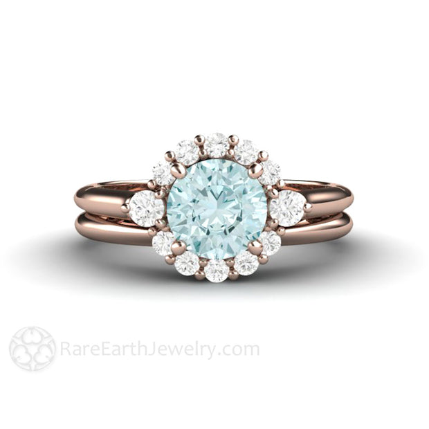 Rare Earth Jewelry 18K Rose Gold Engagement Ring and Wedding Band Blue Moissanite Bridal Set Diamond Halo