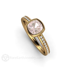 Pink Sapphire Bridal Ring 18K Yellow Gold Bezel Diamond Setting Rare Earth Jewelry