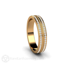 18K Gold Bridal Ring or Anniversary Band Double Pave Diamond Rope Design Rare Earth Jewelry