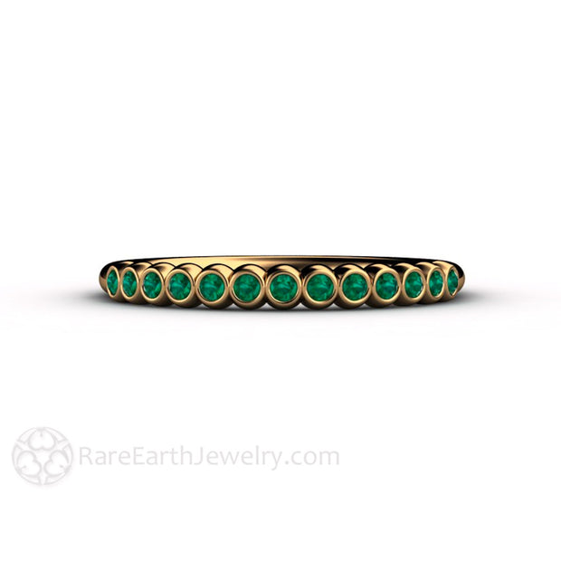 May Birthstone Ring Green Emerald 18K Gold Band Rare Earth Jewelry