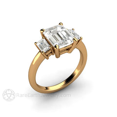 18K Bridal Wedding Ring 3 Stone Emerald Cut Moissanite