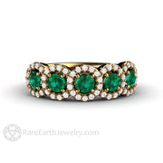 Rare Earth Jewelry 18K Gold Emerald with Diamond 5 Stone Band May Birthstone Ring Halo Setting