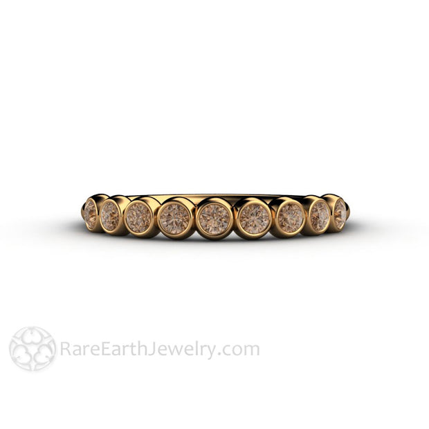 18K Gold Anniversary Band Brown Diamond Round Cut Bezel