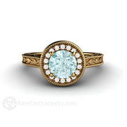 18K Gold Blue Moissanite Wedding Ring Round Cut Diamond Halo Rare Earth Jewelry