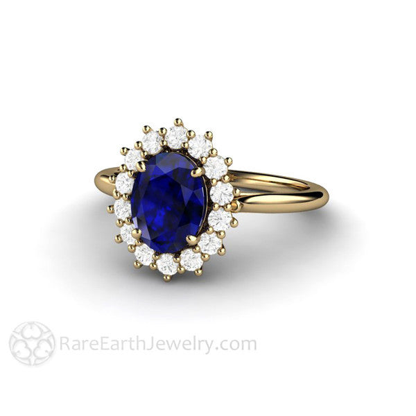 Rare Earth Jewelry Oval Blue Sapphire Halo Ring September Birthstone or Anniversary