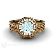 Blue Moissanite Wedding Ring Set 18K Gold Art Deco Halo Design Rare Earth Jewelry