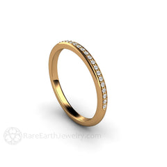 18K Round Cut Diamond Anniversary Band Rare Earth Jewelry