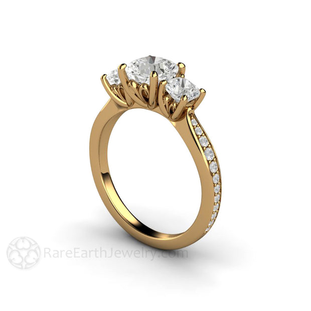 Rare Earth Jewelry 18K Gold Forever One Moissanite Engagement Ring 6mm Cushion 3 Stone Setting