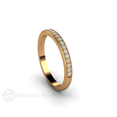 Round Cut Diamond Band Bridal Stacking Ring 18K Gold