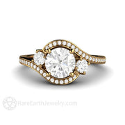 Rare Earth Jewelry 3 Three Stone Vintage Style Diamond Halo Ring 18K Gold