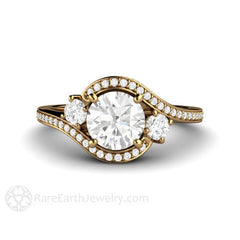 18K Gold 3 Three Stone Vintage Style Diamond Halo Ring