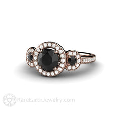 Black Diamond Ring Round Cut Rose Gold Rare Earth Jewelry