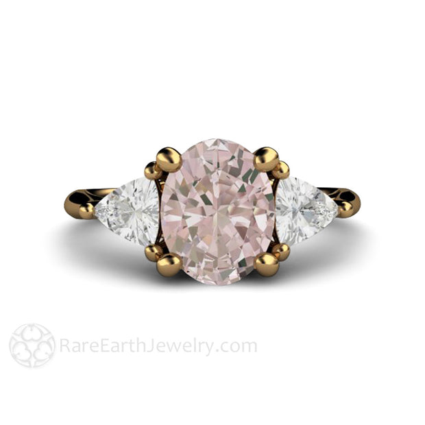 18K Morganite Wedding Ring with Trillion White Sapphires Rare Earth Jewelry