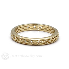 Rare Earth Jewelry Gold Anniversary Band Filigree and Milgrain Vintage Style