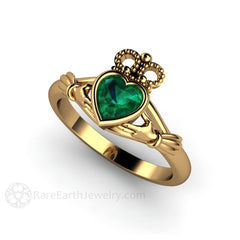 18K Gold Claddagh Engagement Ring Heart Shaped Green Emerald Gemstone Rare Earth Jewelry
