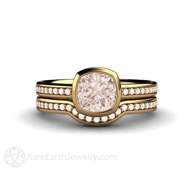 Rare Earth Jewelry 18K Pink Sapphire Engagement Ring with Diamond Wedding Band Bezel Cushion