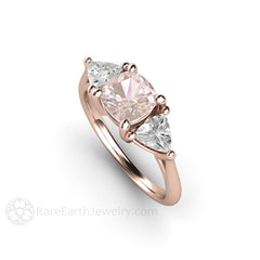 18K Rose Gold Pink Sapphire Ring Cushion with Trillion Sapphire Accent Side Stones Rare Earth Jewelry