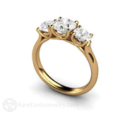 18K Moissanite Engagement Ring 3 Stone Rare Earth Jewelry