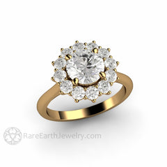 Rare Earth Jewelry 18K Gold Moissanite Ring with Cluster Moissanite Halo Round Cut
