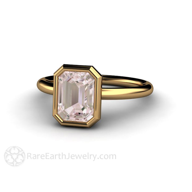 Emerald Cut Natural Morganite Ring 18K Gold Bezel Setting Rare Earth Jewelry