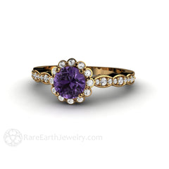 18K Purple Sapphire Bridal or Anniversary Ring Rare Earth Jewelry