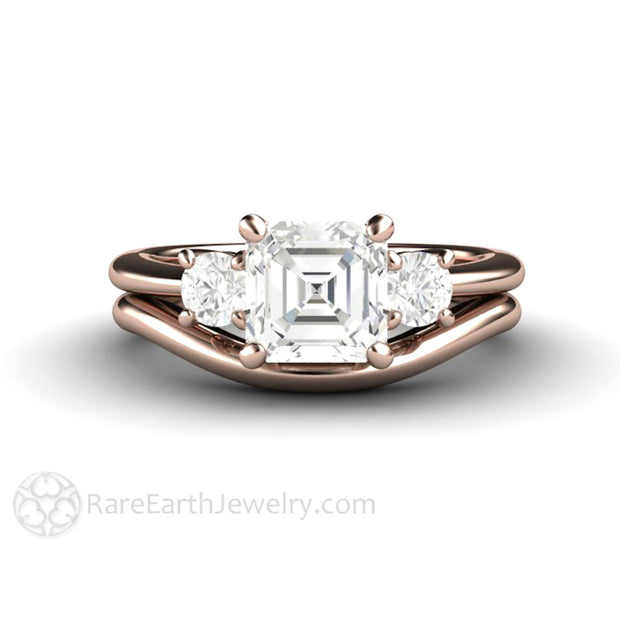 Rare Earth Jewelry 1 Carat Asscher Cut Forever One Moissanite Wedding Ring Set 18K Rose Gold Round Side Stones