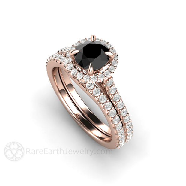 18K Rose Gold Black and White Diamond Wedding Set 6mm Round Halo Rare Earth Jewelry