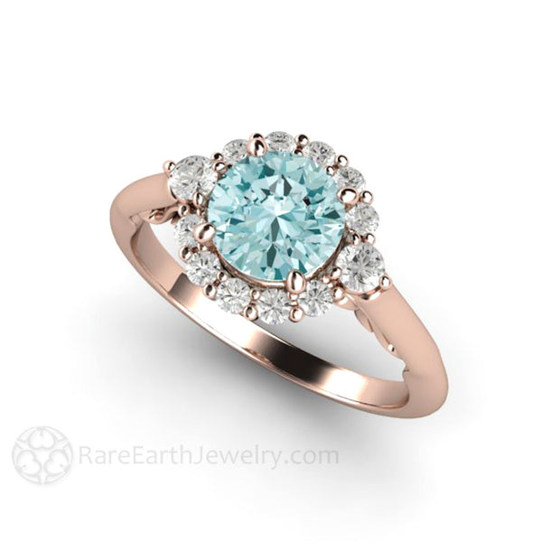 Rare Earth Jewelry 18K Rose Gold Moissanite Diamond Halo Engagement Ring Round Light Blue Moissanite