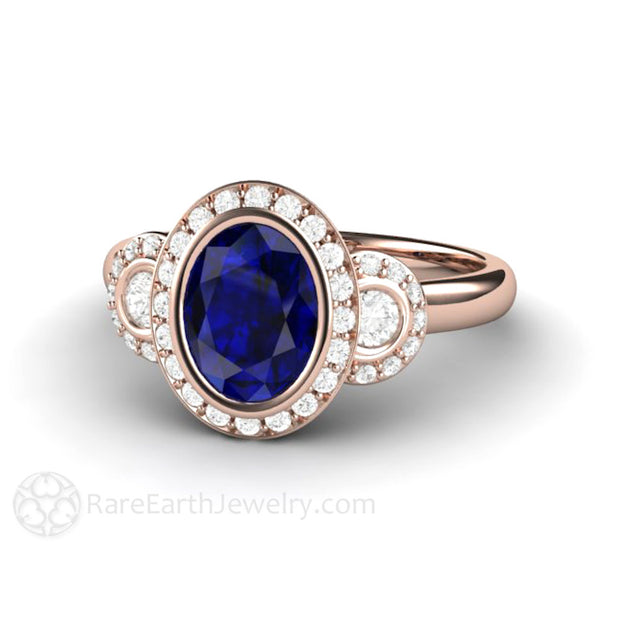 Rare Earth Jewelry 18K Rose Gold Blue Sapphire Bridal Ring 8x6 Oval Halo