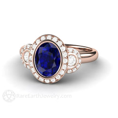 18K Rose Gold Blue Sapphire Bridal Ring 8x6 Oval Halo Rare Earth Jewelry
