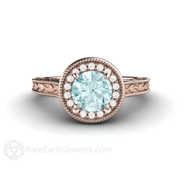 18K Rose Gold Blue Moissanite Ring with Diamond Halo Engraved Filigree Milgrain Detail Rare Earth Jewelry