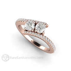 Two Stone Round Cut Diamond Ring 18K Rose Gold Toi et Moi Rare Earth Jewelry