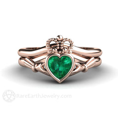 Claddagh Wedding Band Set Bezel Rose Gold Setting Emerald Heart Rare Earth Jewelry