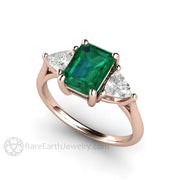 18K Rose Gold Vintage Style Green Emerald Ring Rare Earth Jewelry