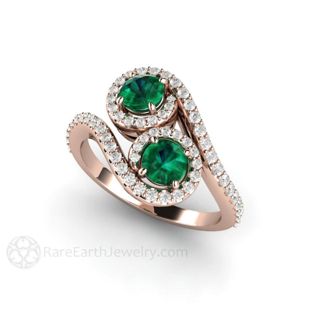 Green Emerald Bridal Ring 18K Rose Gold Round Cut Halo