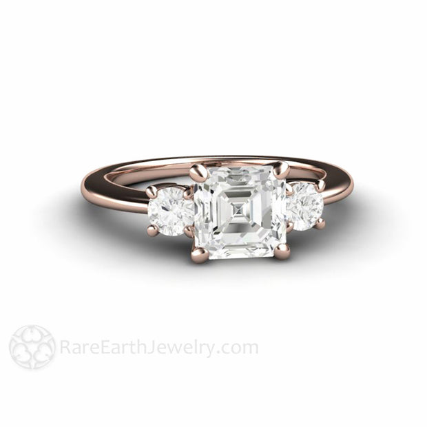 Rare Earth Jewelry Asscher Moissanite Engagement Ring 18K Rose Gold Round Cut Moissanite Side Stones