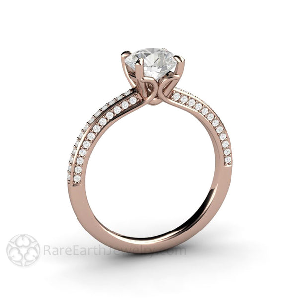 Rare Earth Jewelry Rose Gold Engagement Ring 1ct Moissanite Solitaire Round Cut Diamond Accented Band