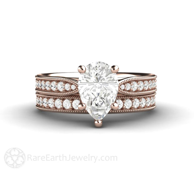Rare Earth Jewelry Rose Gold Pear Shaped Moissanite Wedding Set 1.5ct Forever One Engagement 18K