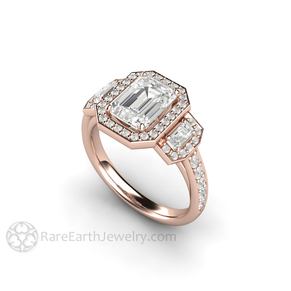 Forever One Moissanite Engagement Ring 3 Stone Emerald Cut