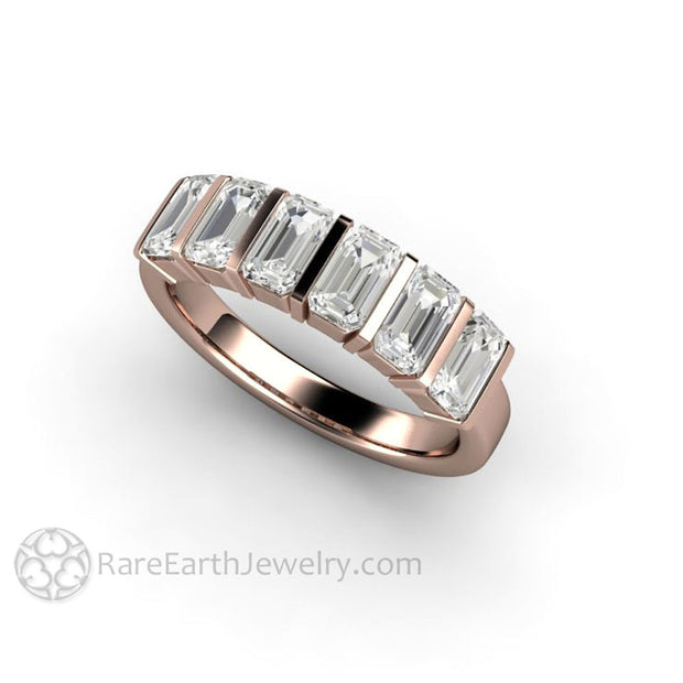 Rose Gold Moissanite Wedding Band Emerald Cut Gemstones in Geometric Style on Flat Band