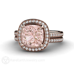 Rare Earth Jewelry Cushion Morganite Wedding Ring Set Diamond Halo and Bridal Band Rose Gold