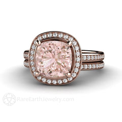 Morganite Wedding Set Cushion Cut Halo Engagement Ring and Bridal Band Rose Gold Rare Earth Jewelry