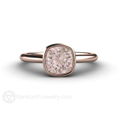 Morganite Engagement Ring Cushion Cut Bezel Set Rare Earth Jewelry