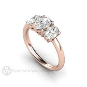 Rare Earth Jewelry Moissanite Ring Oval Cut 18K Rose Gold Engagement or Anniversary