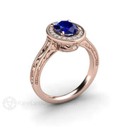 18K Rose Gold Blue Sapphire Halo Engagement Ring Oval Art Deco Design Rare Earth Jewelry