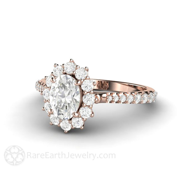 Rare Earth Jewelry 18K Rose Gold Moissanite Engagement Ring 1ct Oval Cut Forever One